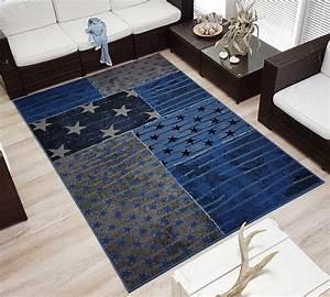 Teppich Stern Blau : design velours kurzflor teppich superstar stern real ~ Markanthonyermac.com Haus und Dekorationen