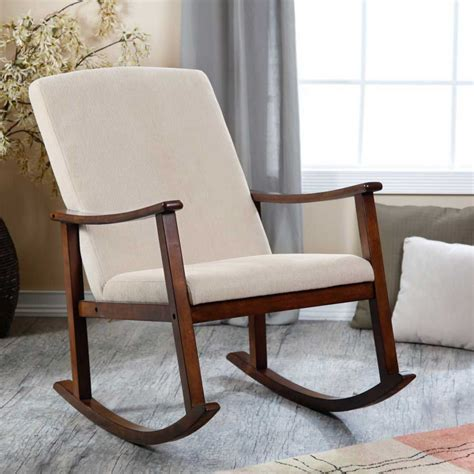 modern design wooden rocking chair with thick seat and back cushions consumer reviews home