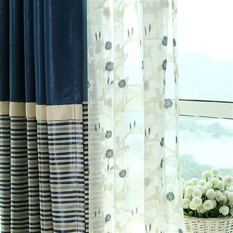 Navy And White Striped Curtains Blackout by Simple Navy Polyester Blackout Striped Curtains