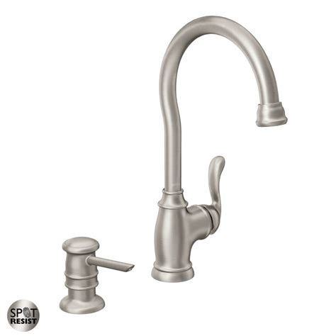 moen 87682srs spot resist stainless high arc kitchen faucet with soap dispenser from the