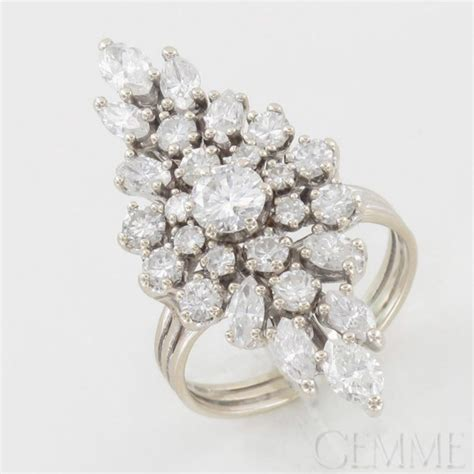 bague marquise or blanc diamant taille navette taille brillant