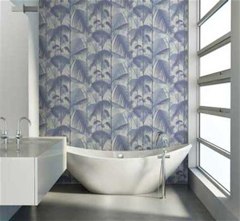 papier peint salle de bain design motif bleu au fil des couleurs