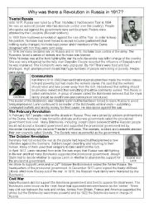 English Worksheet Russian Revolution
