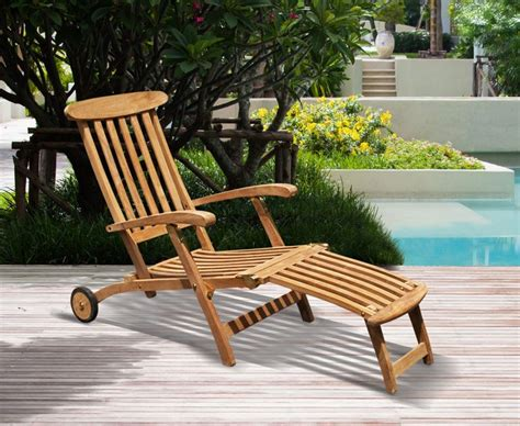 halo teak steamer chair with free cushion wheels brass fittings
