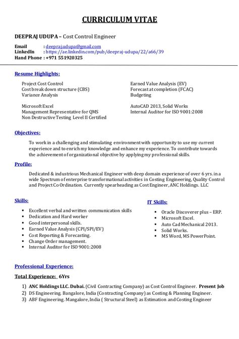 Resume  Cost Control Engineer  Deepraj Udupa. Job Sample Resume. Good Objective Statement For Resume Examples. Resume Format Template For Word. Attractive Resume Templates Free Download. How To Put References On Your Resume. Electrician Resume Template. Sample Resumes For Jobs. Software Engineer Resume Template Download