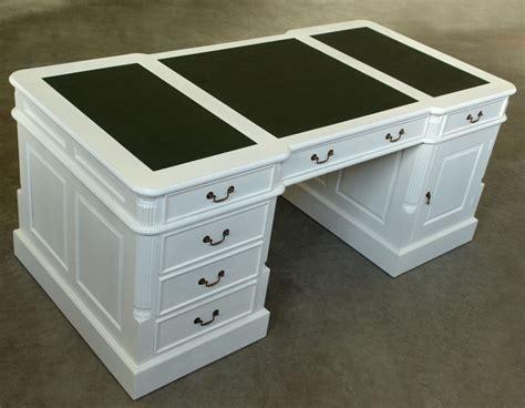 bureau anglais 180 cm acajou laqu blanc meuble de style