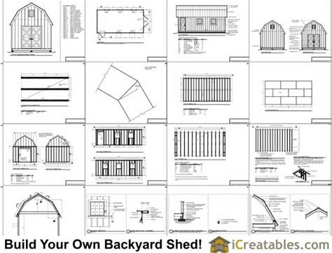 12x24 Barn Shed Plans by 12x24 Gambrel Shed Plans 10x10 Barn Shed Plans