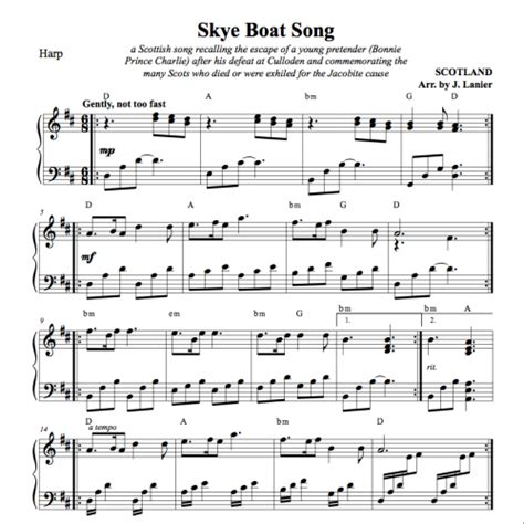 Boat Song To Skye by Skye Boat Song For Harp In D C Or G Janet Lanier