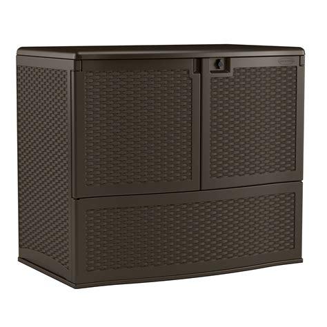 suncast suncast 195 gal outdoor patio door vertical storage resin deck box with 2 inner