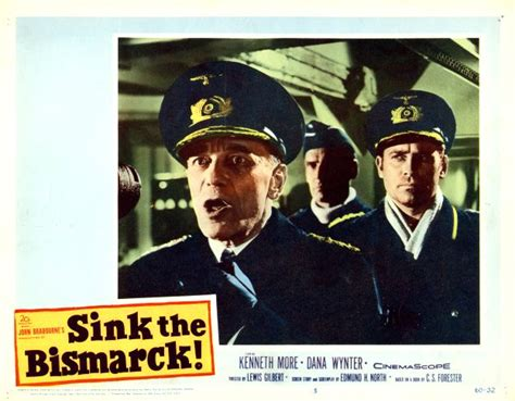 sink the bismarck lobby card starring kenneth more and wynter 1960
