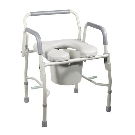 11125pskd 1 steel drop arm bedside commode with padded seat arms ebay