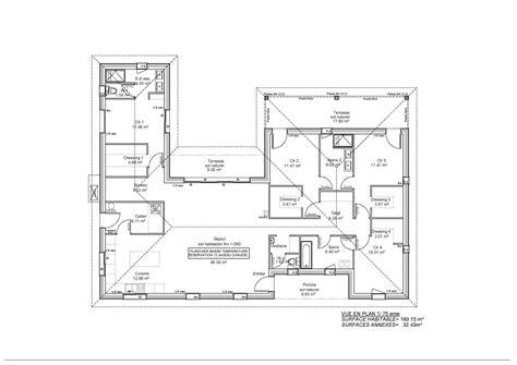 plan maison 160m2 plain pied