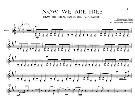 "Now We Are Free (from ""gladiator) Violin Sheet Music"