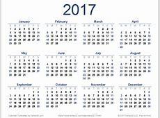 2017 Calendar yearly printable calendar