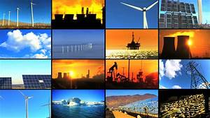 Montage collection at sunset of clean renewable… - Royalty ...