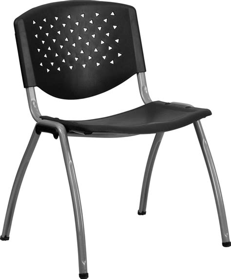 hercules series 880 lb capacity black plastic stack chair with titanium frame