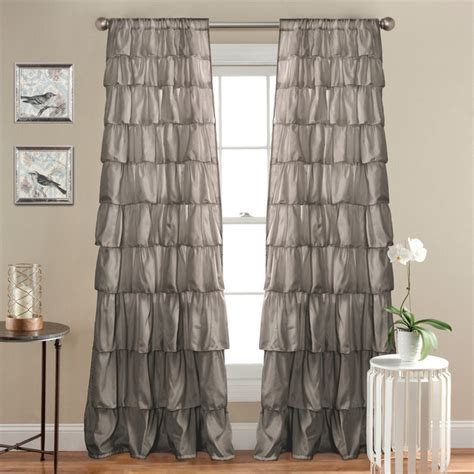 ruffle window curtain gray curtains by lush decor