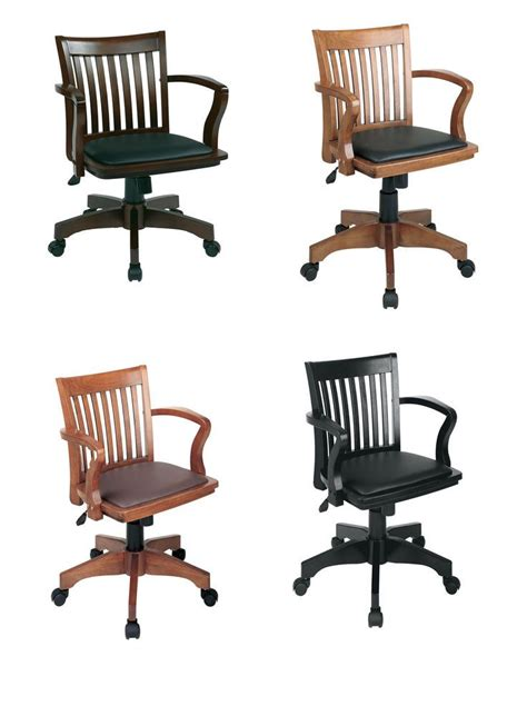 details about mission style bankers wood swivel desk chair laquered finish warms padded seat