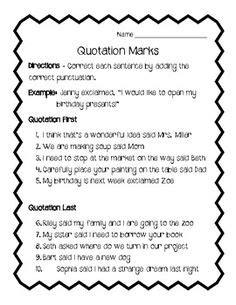 Adding Quotation Marks To Dialogue Worksheet  Englishlinxcom Board  Pinterest Quotation