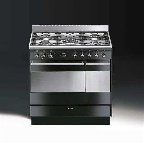 smeg concert suk92mbl9 dual fuel 90cm range cooker gloss black with chrome trim