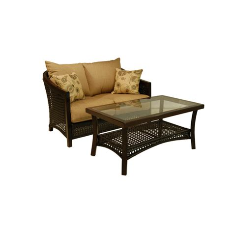 lowes allen roth cranston all weather wicker patio chairs loveseat sets lounging furniture outdoor