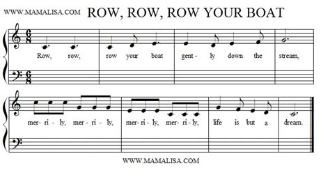 Sheet Music Row Your Boat by Row Row Row Your Boat American Children S Songs The