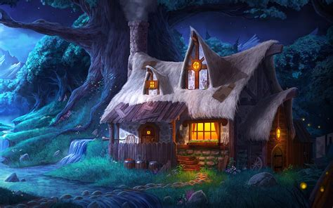 Fantasy House In The Forest Full Hd Wallpaper And