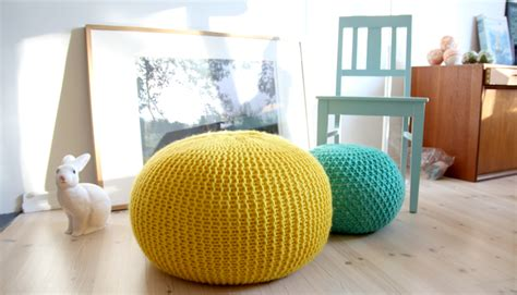 a tweed pouf ottoman an easy chunky knit flax twine