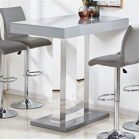Caprice Glass Bar Table In Grey High Gloss And Stainless