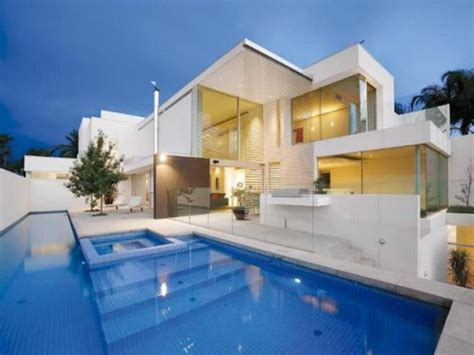 the best design of the modern house with pool your