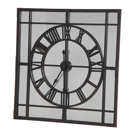 Large Square Mirrored Wall Clock