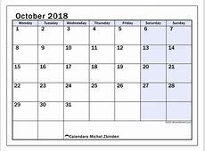 Calendar October 2018 57MS Michel Zbinden en
