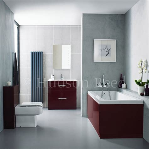 hudson reed memoir burgundy bathroom suite at