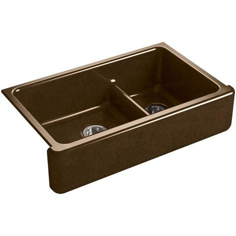 kohler whitehaven undermount apron front cast iron 36 in single bowl kitchen sink in suede k