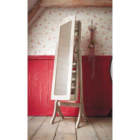 miroir psych 233 porte bijoux en bois de paulownia blanchi h 160 cm camille maisons du monde
