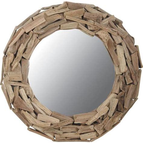 miroir rond en bois flott 233 achat vente miroir bois cdiscount