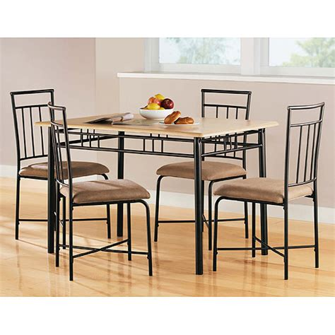 Kitchen Table Chairs At Walmart by Mainstays 5 Wood And Metal Dining Set