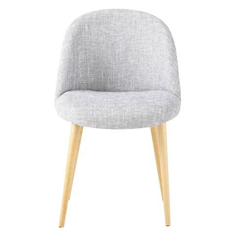 chaise vintage en tissu et bouleau massif gris clair chin 233 mauricette maisons du monde