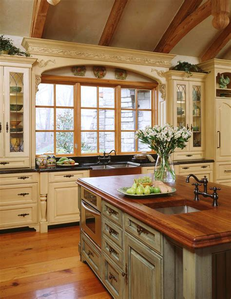 Country French Kitchen; I Like The Window Above The Sink
