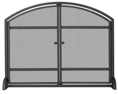 Uniflame Black Single Panel Fireplace Screen With Doors