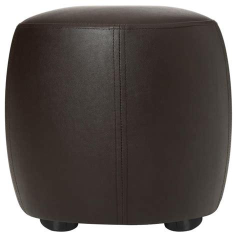 pouf rond simili cuir marron 31 5cm