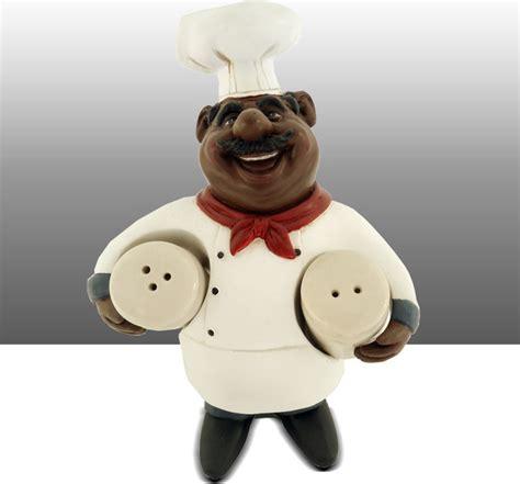 black chef kitchen statue salt and pepper holder table