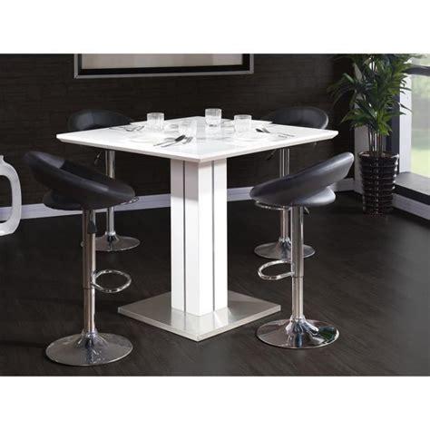 sandro table de bar 100x100cm laqu 233 blanc brillant achat vente table salle a manger pas cher