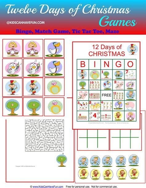 42 Best Images About Twelve Days Of Christmas Printables, Worksheets, Coloring, Games On
