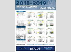 Calendar Leander Independent School District