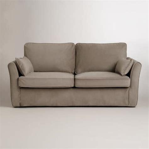 mink brown velvet fit luxe sofa slipcover world market