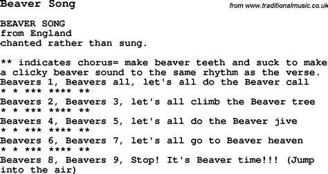 Summer Camp Song, Beaver Song, With Lyrics And Chords For Ukulele, Guitar, Banjo Etc