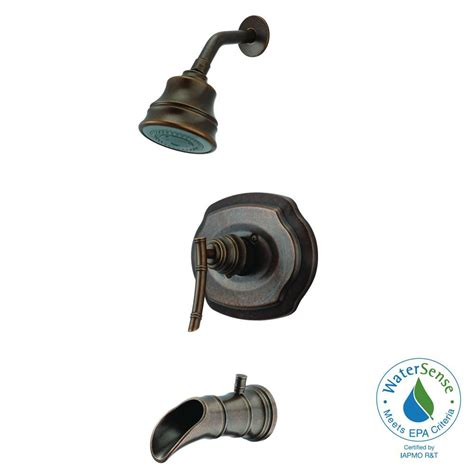 pegasus bamboo watersense single handle 3 spray tub and shower faucet in heritage bronze 873w