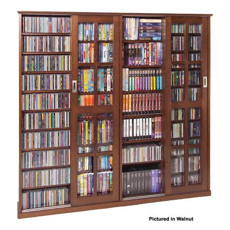 leslie dame glass 4 door multimedia storage cabinet oak ms 1400