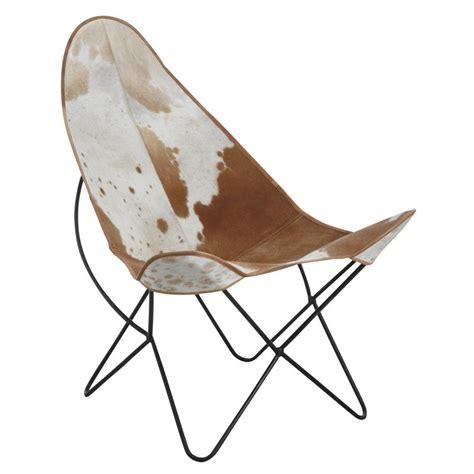 fauteuil papillon en m 233 tal et peau de vache mfa2540c aubry gaspard